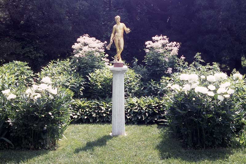 Augustus Saint-Gaudens sculpture and formal gardens.